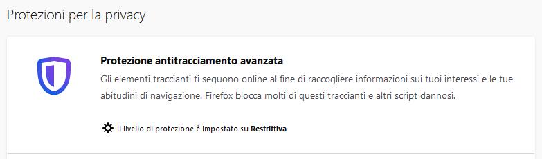 Firefox protezione antitracciamento